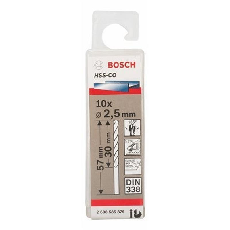 Mũi khoan inox HSS-Co 2.5mm Bosch 2608585875 2608585875 Bosch | Giá rẻ nhất - Công Ty TNHH Thương Mại Dịch Vụ Đạt Tâm