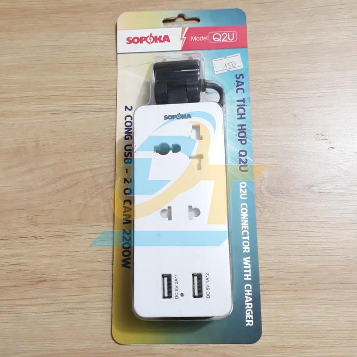 Ổ cắm điện tích hợp 2 cổng sạc USB 5V SOPOKA Q2U