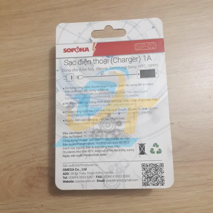 Sạc điện thoại 1A SOPOKA SIP-02 SIP-02 Sopoka   Giá rẻ nhất - Công Ty TNHH Thương Mại Dịch Vụ Đạt Tâm