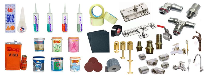 Keo, sơn, giấy nhám, bản lề, chốt cửa, van nước